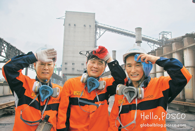 Employees at Gwangyang Steelworks' Chemical Division are wiping their faces near the hot-aired 5th Cokes Furnace