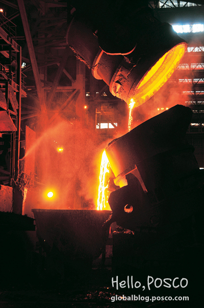 Pouring molten metal into a cast at Gwangyang 2nd Continuous Casting Factory
