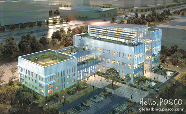 POSCO completed construction of the 'POSCO Green Building,' a future-oriented building with environment-friendly and energy reduction technology applied, located on the Yonsei University International Campus located in Songdo, Incheon