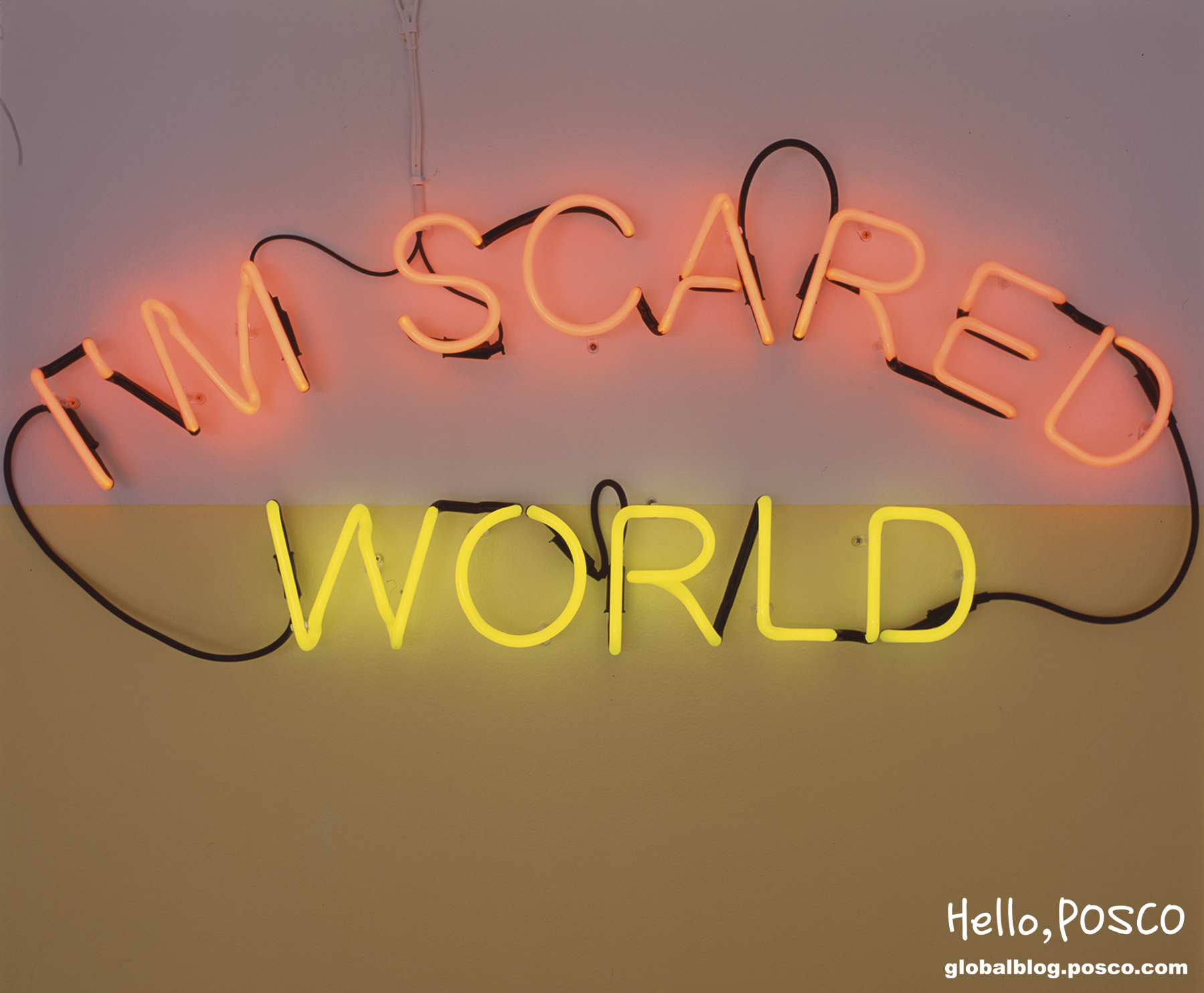 Kiron Robinson I_m Scared World, 2006 (detail), Neon, 50 x 120cm, Image courtesy of the artist and Sarah Scout, Melbourne