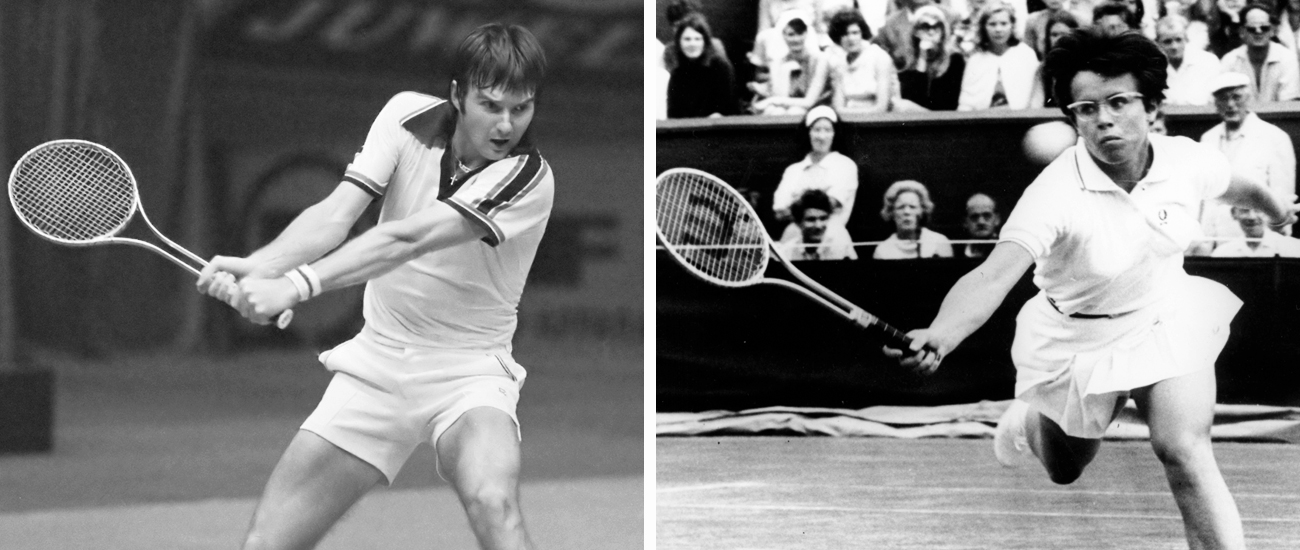 (Left) Jimmy Connors with the Wilson T-2000 (1978). (Wikimedia) / (Right) Billie Jean King defeats Fay Moore in the fourth round of Wimbledon in 1968. She would later go on to win the tournament using the Wilson T2000. (Thirteen)