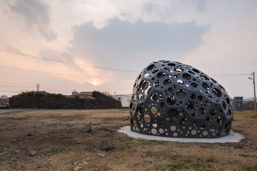 Pangdolane sits on a beach on Korea's Jeju Island.