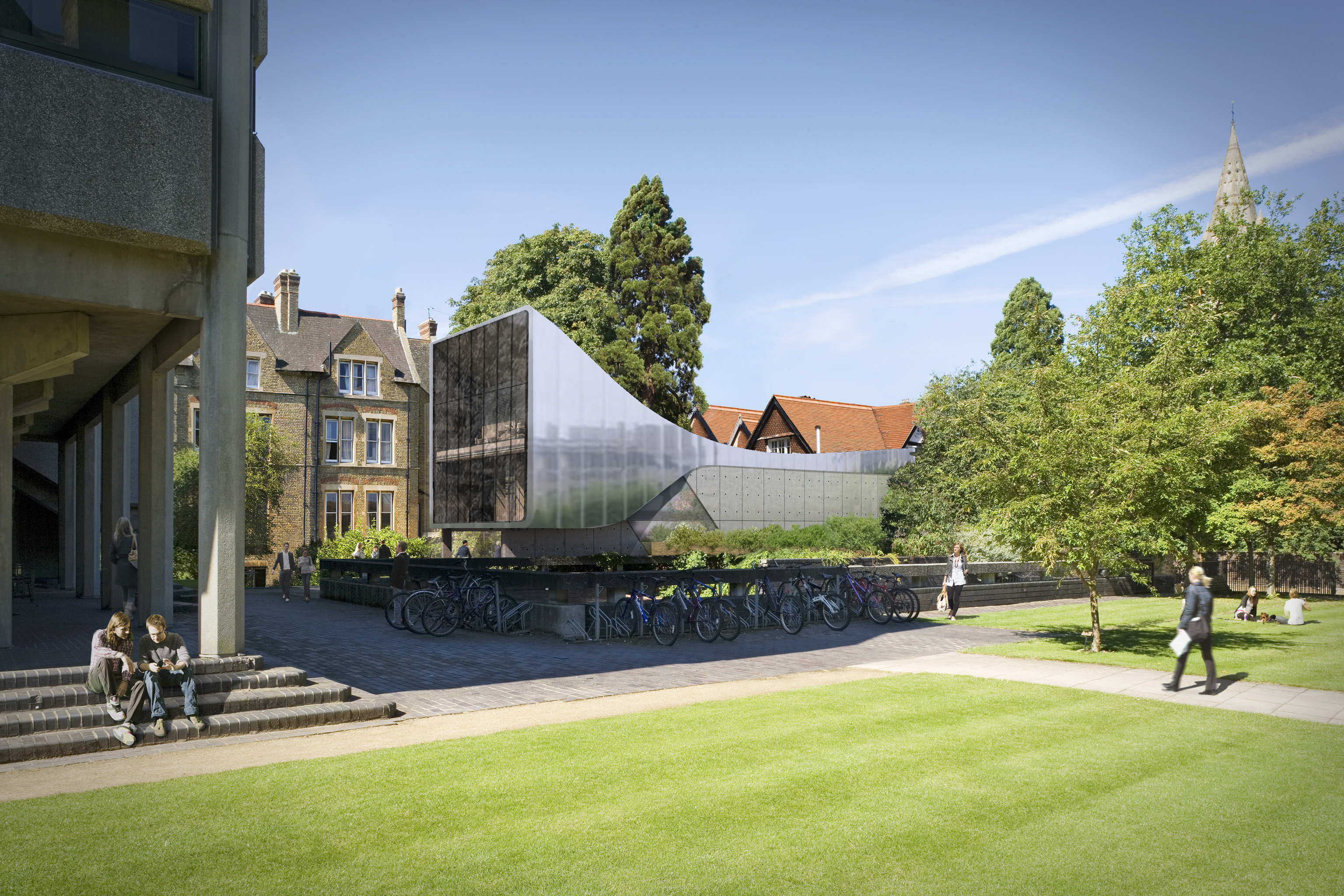 The stainless steel of the Investcorp Building on the campus of Oxford University stands out among its surroundings.