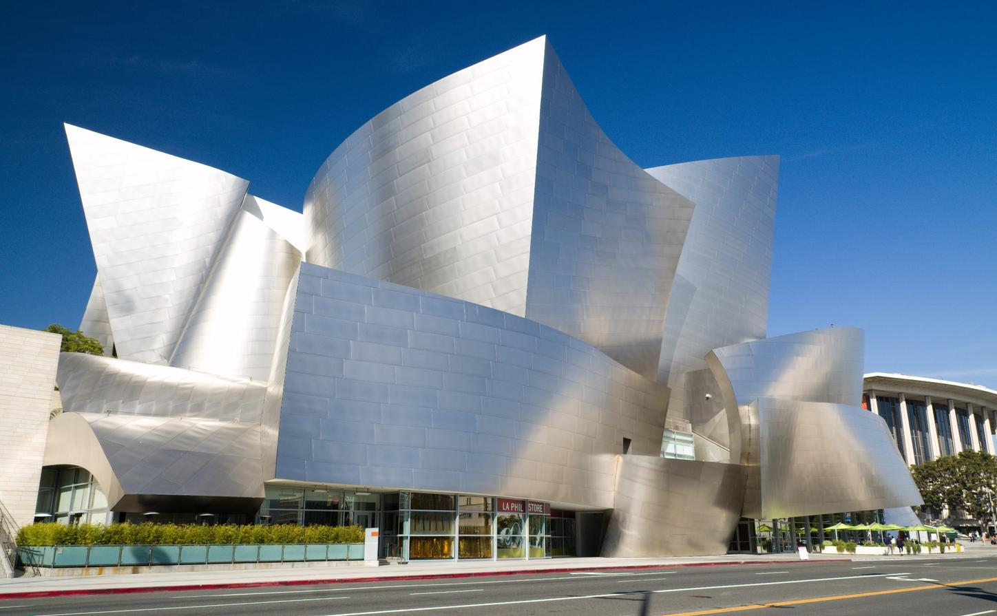 The Walt Disney Music Hall designed by Frank Gehry is known for its stainless steel exterior.