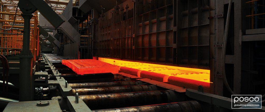 Steel comes off of the hot rolling process