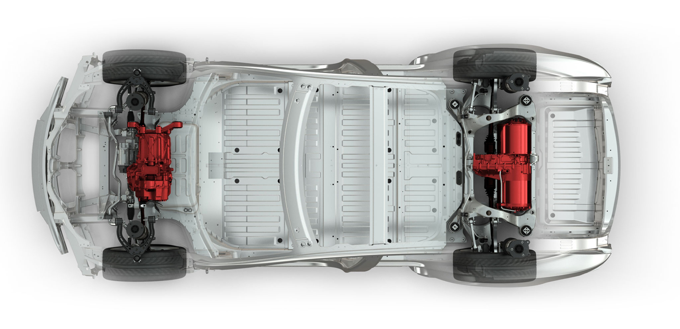 Top view of an electric car frame