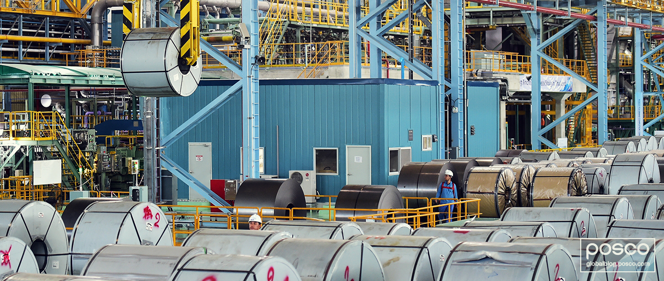 Automotive steel coming off the line at POSCO TCS