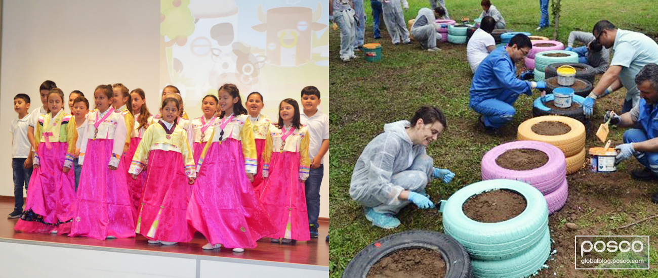 POSCO ASSAN TST employees in Turkey built a playground made out of recycled tires for the kindergarten students.