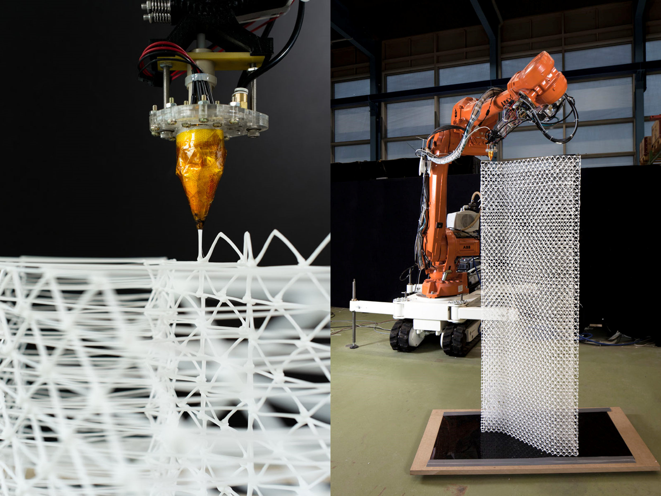 An orange Mesh Mould 3D printer goes to work on a steel frame