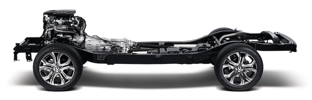 The base of the G4 Rexton quad frame attached to 4 wheels