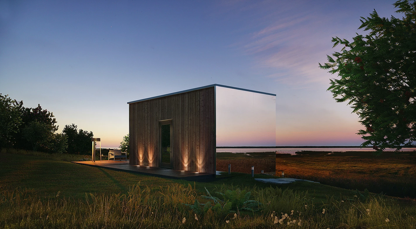 ÖÖD is an 18 sq m tiny home clad in mirrored glass to help it blend into its surrounds.