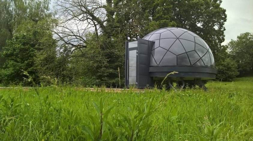Smartdome, a 270 square foot dome home, features adjustable steel legs