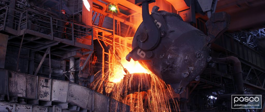 A converter holding molten steel being tilted