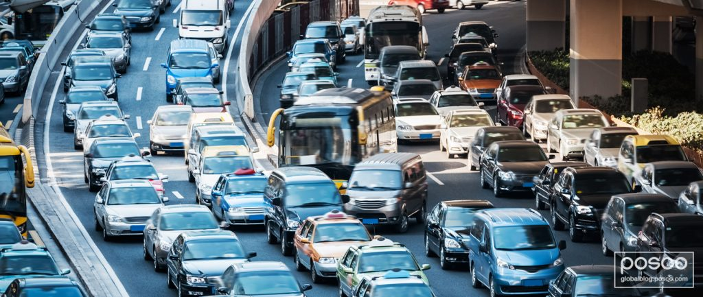 Traffic congestion during rush hour at Shanghai, China
