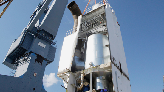 A close look at a scrubber installed for a HFO-fueled ship