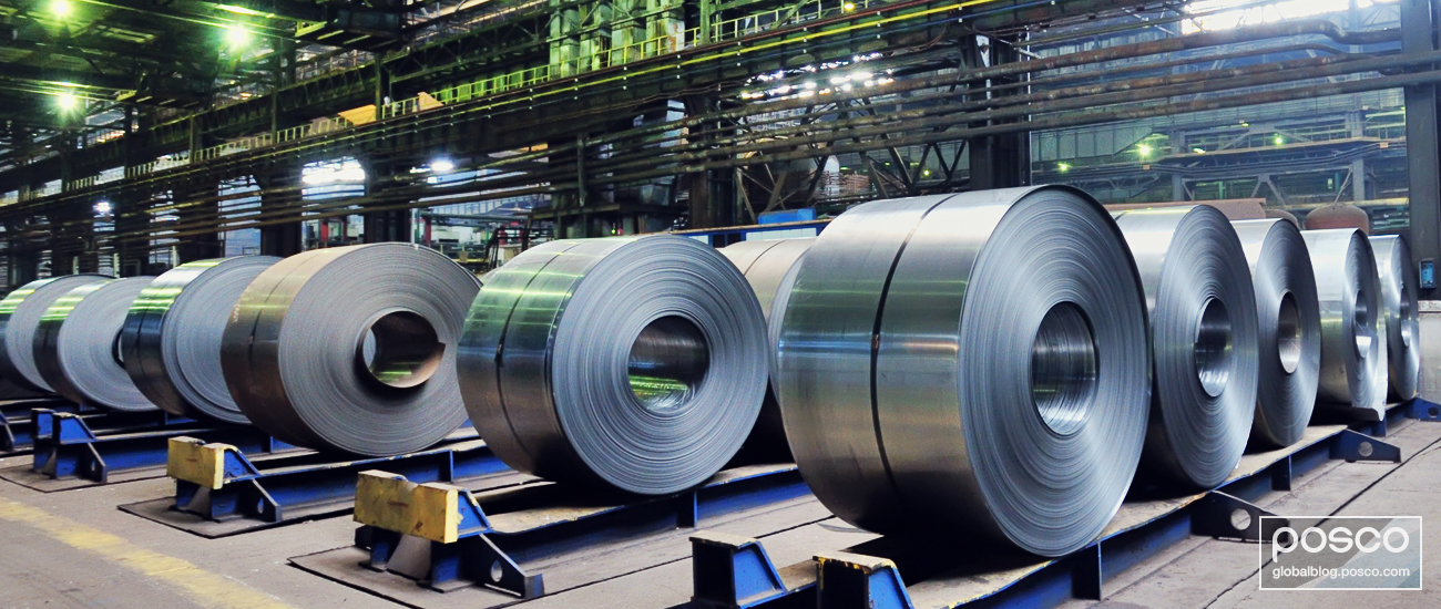 Sheets of cold rolled steel in a steel mill
