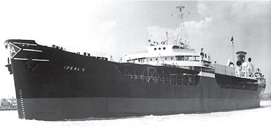 The Ideal X leaving Newark, New Jersey in 1956 carrying 58 cargo containers