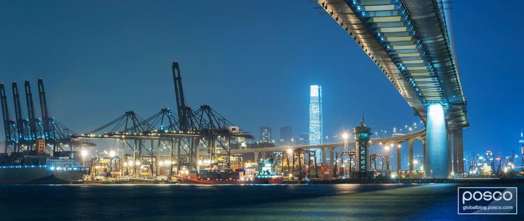 A night view of the Stonecutters Bridge and container port in Hong Kong