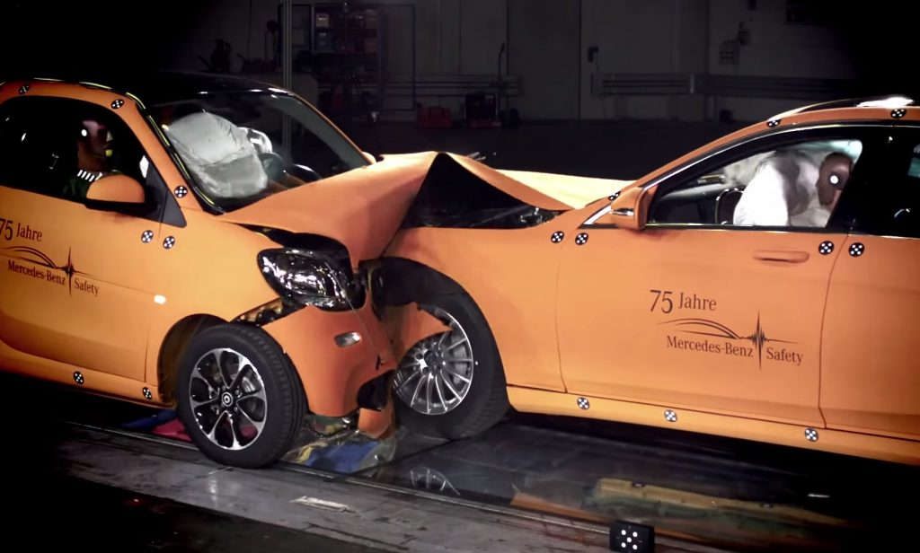 2016 Smart Fortwo and the Mercedes S Class clash head-on during a crash test.
