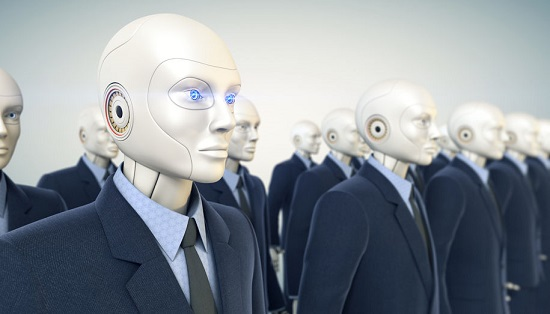 An image of an all-robot workforce wearing suits to resemble human workers