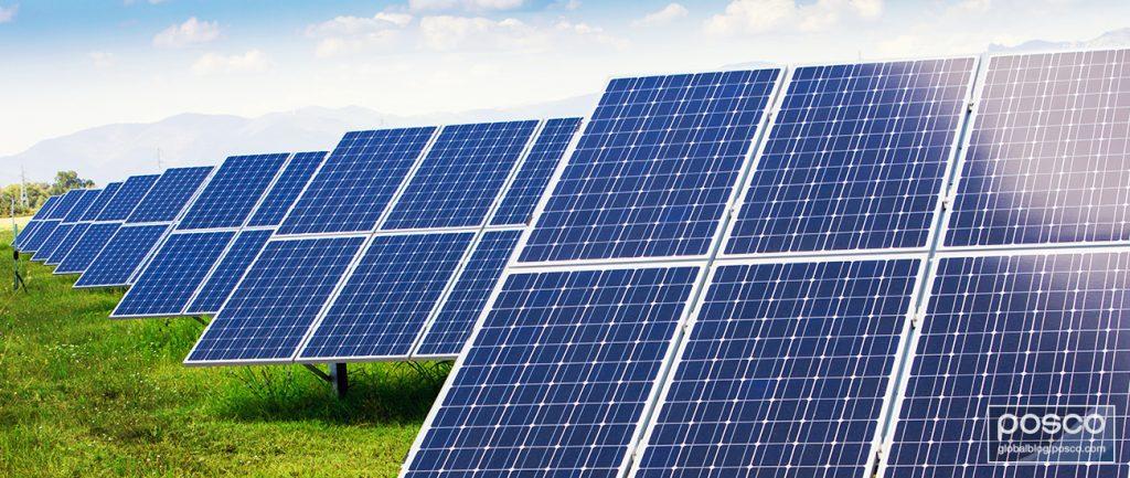 Solar panels made of PosMAC produce renewable energy.