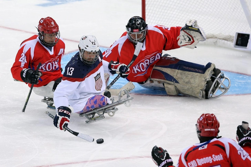 The Korean National Para Ice Hockey Team playing against the U.S. national team in 2014