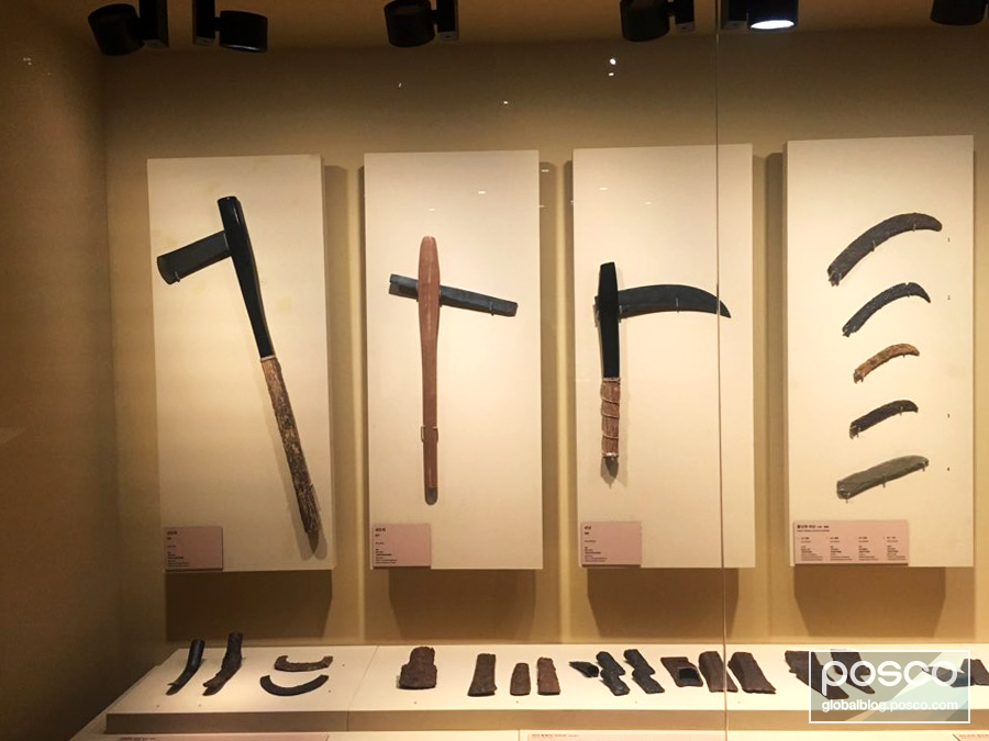 Iron tools on display at the National Museum of Korea.