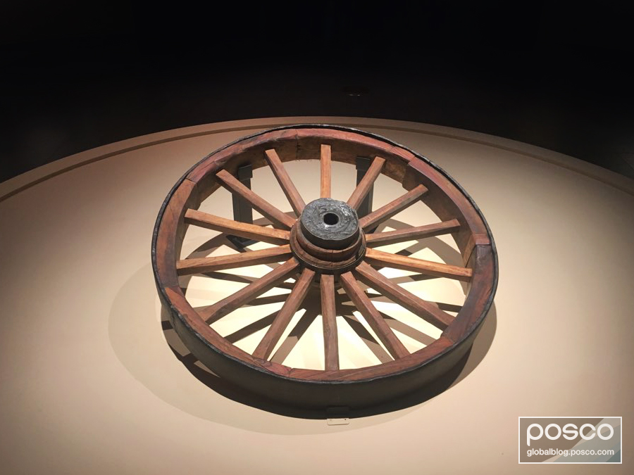 An iron wheel on display at the exhibition of steel and the fourth industrial revolution at the National Museum of Korea.