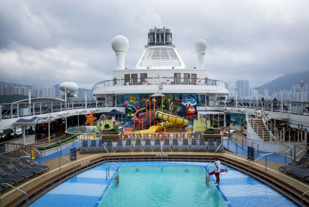 The swimming pool on Royal Caribbean's Ovation of the Seas cruise ship at the port of Tianjin.