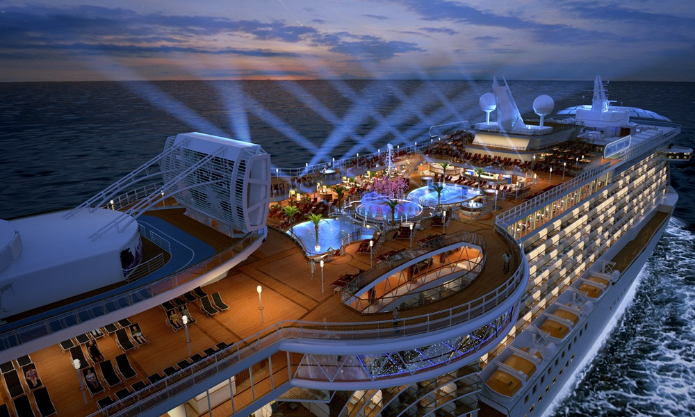 A night view of the Carnival's Regal Princess, part of the Princess Cruises.