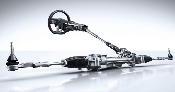 An automotive steering system of a car made of wire rods.