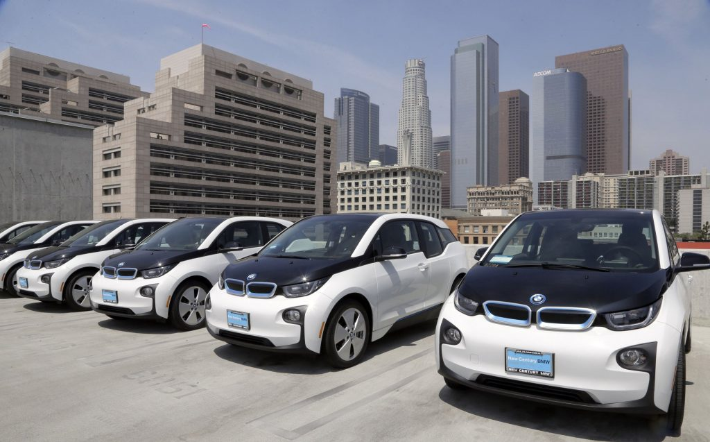 A line up of the new electric vehicles to be used by the LAPD