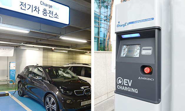 An EV gets charged at a ChargEV station.