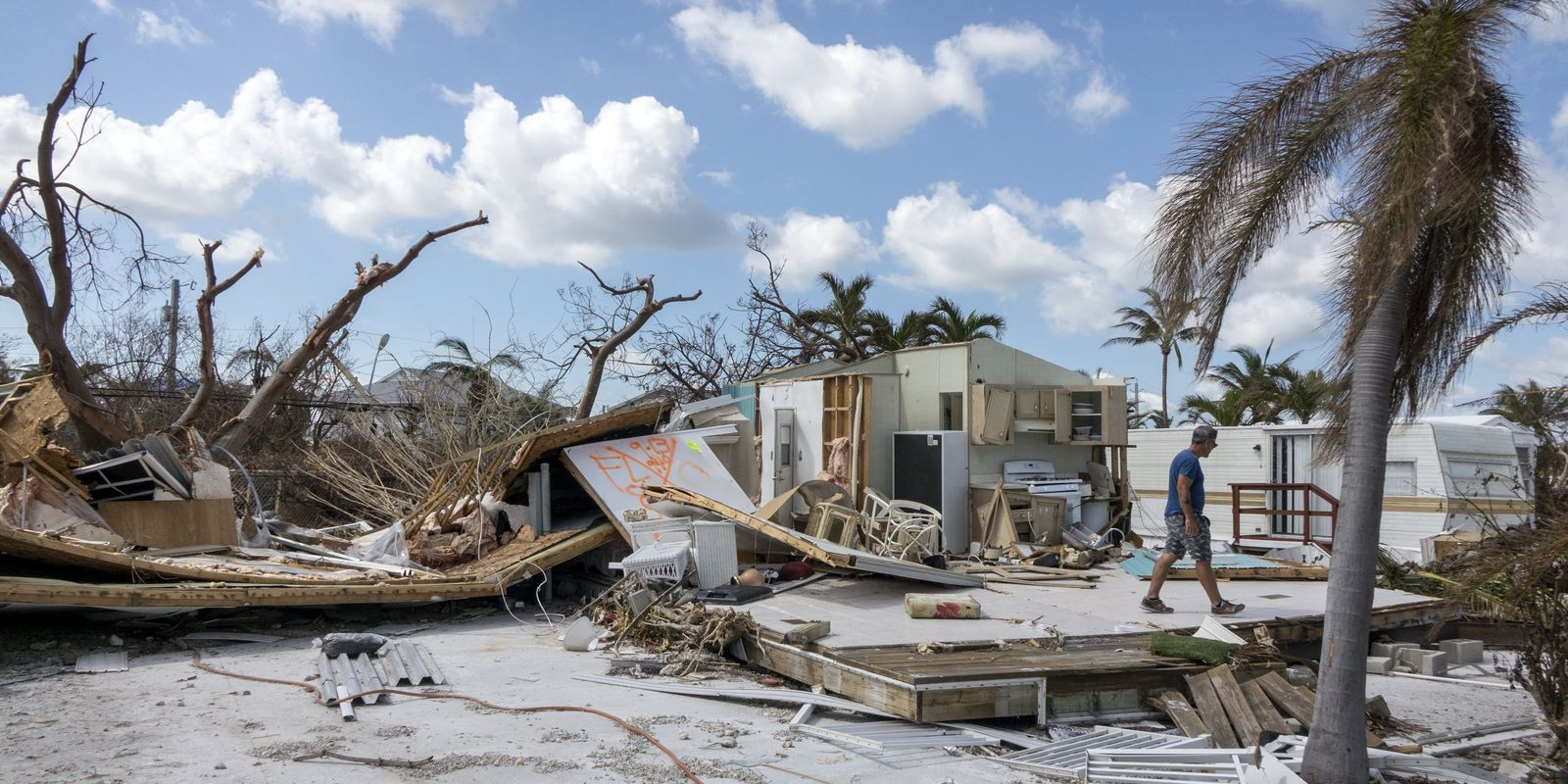 A house and trees are torn to pieces by Hurricane Harvey in Texas.
