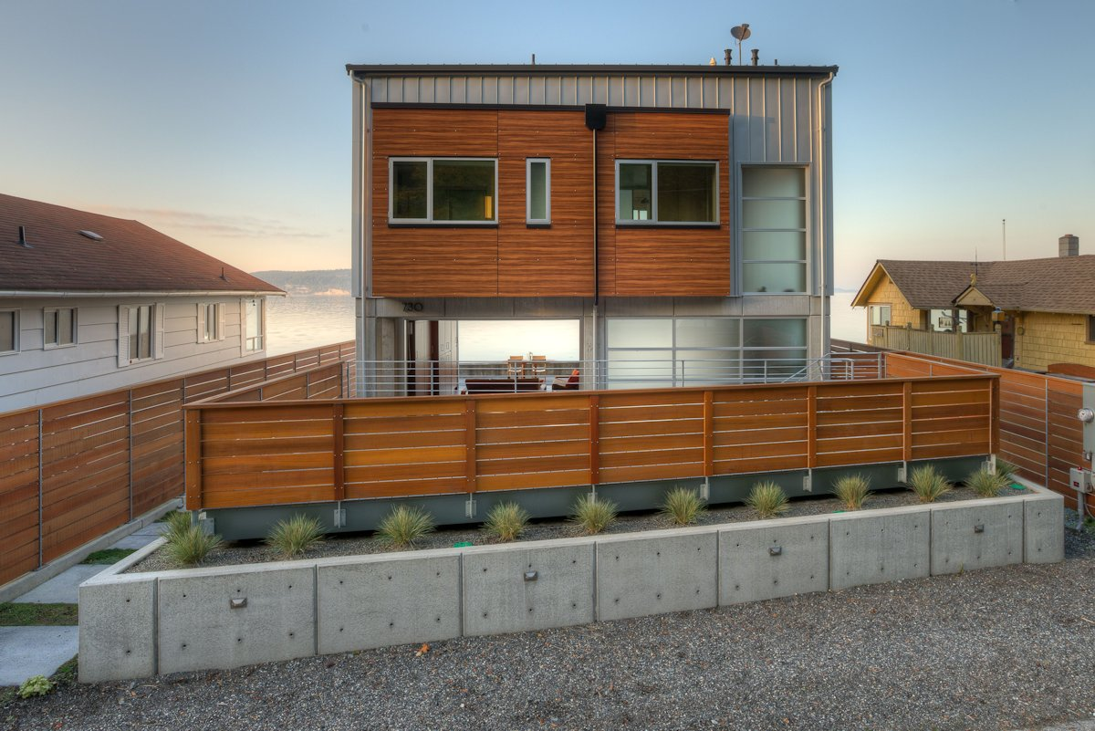 A view of the Tsunami house from behind overlooking the ocean.