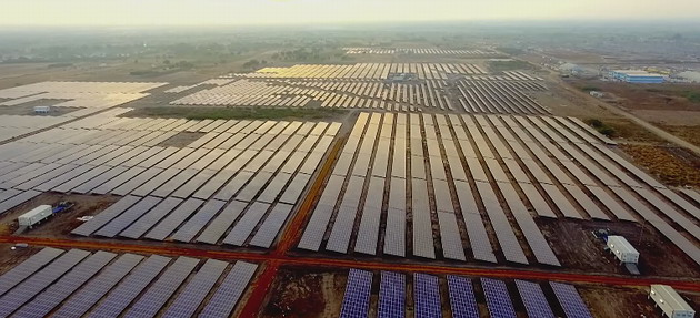 A bird's eye view of the largest solar farm in the world located in Tamil Nadu, India.