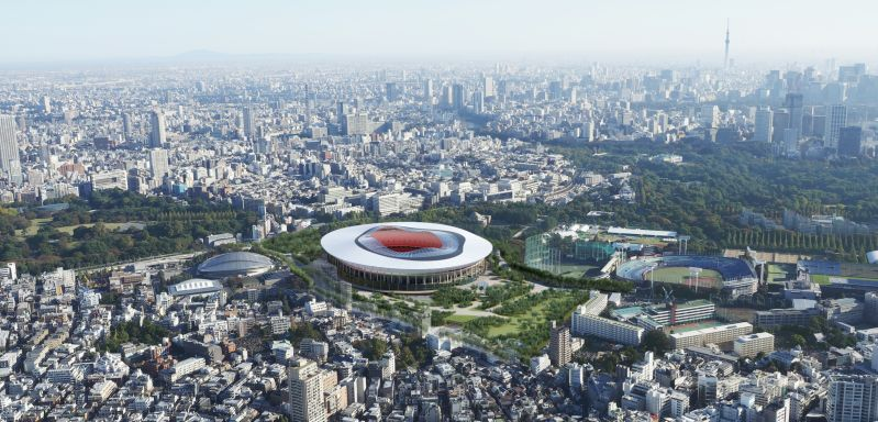 A model of Japan's stadium that is being built for the 2020 sports event.