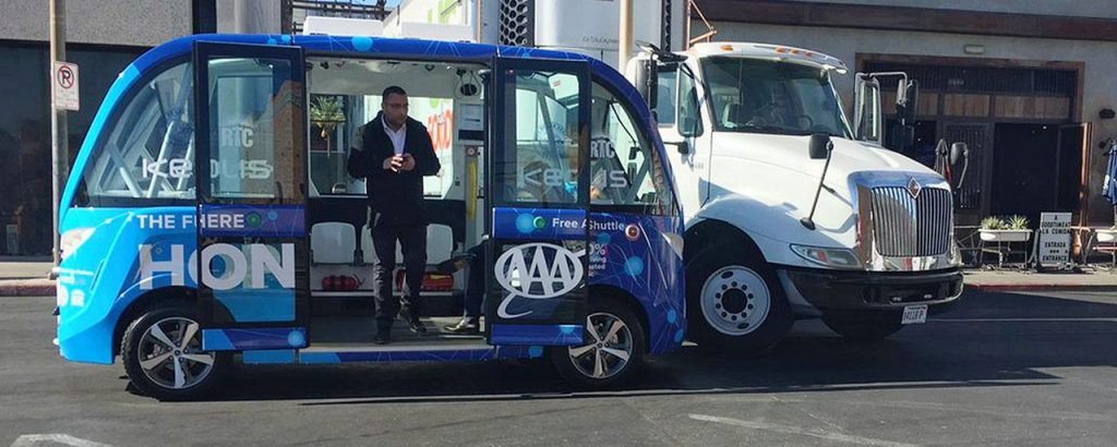 Las Vegas' autonomous bus and a truck were involved in a minor accident.