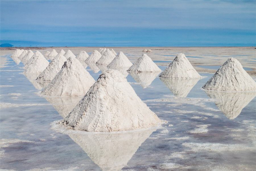 Mounds of lithium salts.