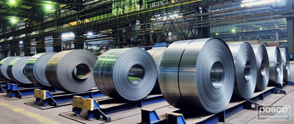 Rolls of POSCO GIGA STEEL in a steel mill.