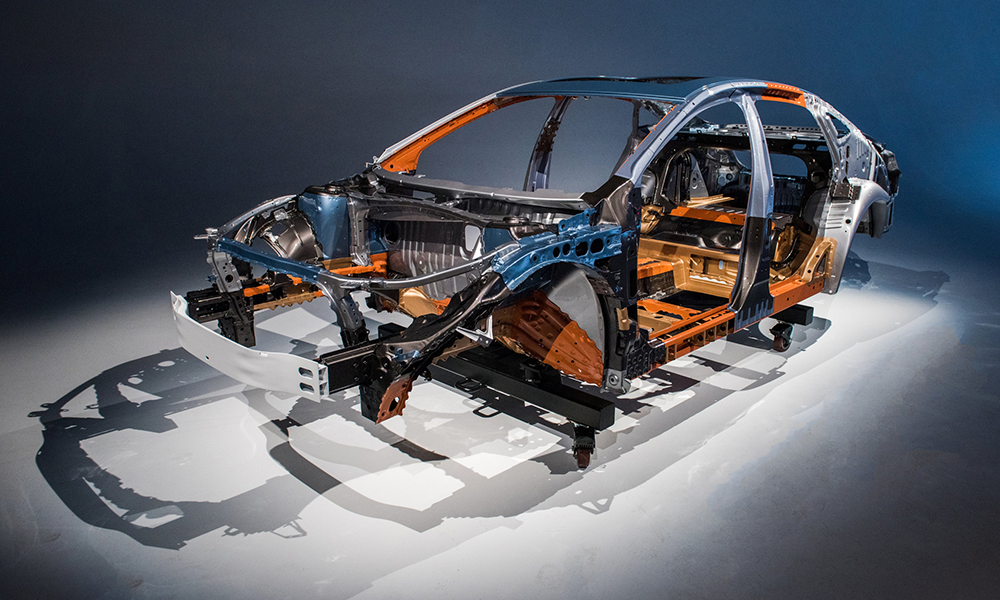 A car chassis made of different types of POSCO GIGA STEEL