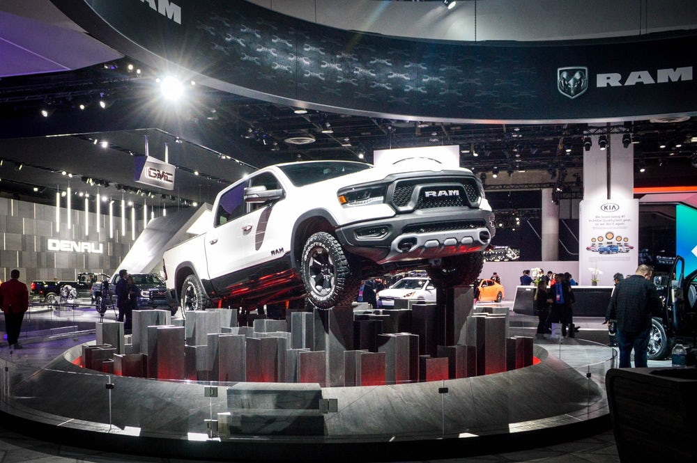 The 2019 Dodge Ram 1500 on display at the 2018 North American International Auto Show.
