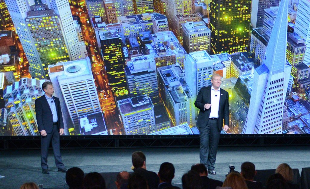 Two speakers from Bosch talk about smart city solutions on stage at CES 2018.