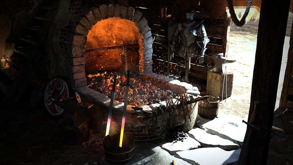 A hot coke forge with hot metal tongs hanging on the side.