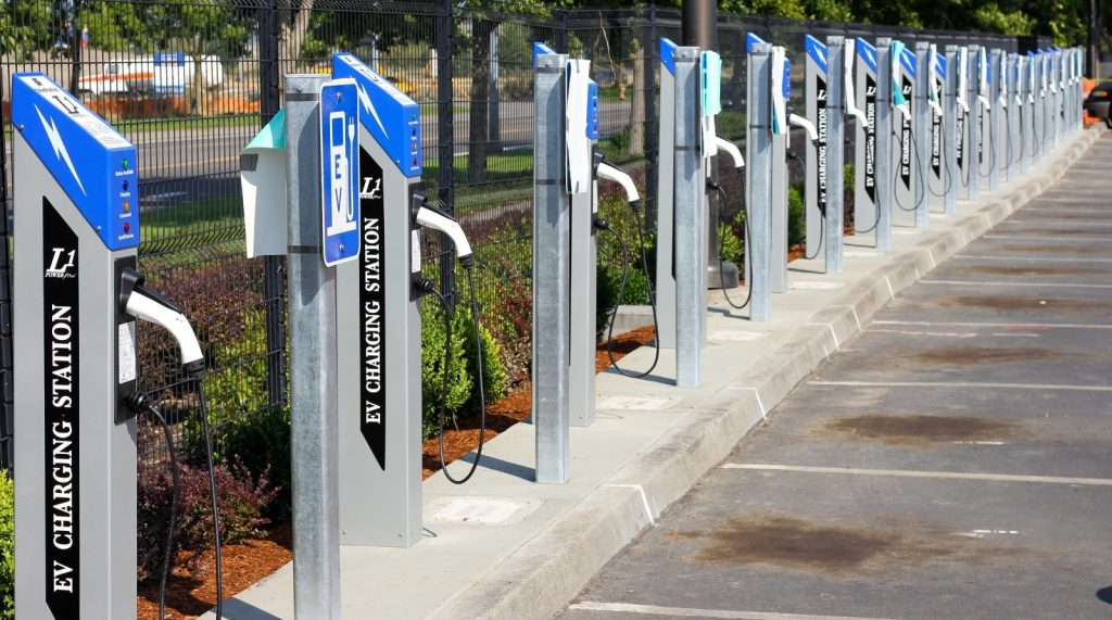 A row of electric vehicle chargers.