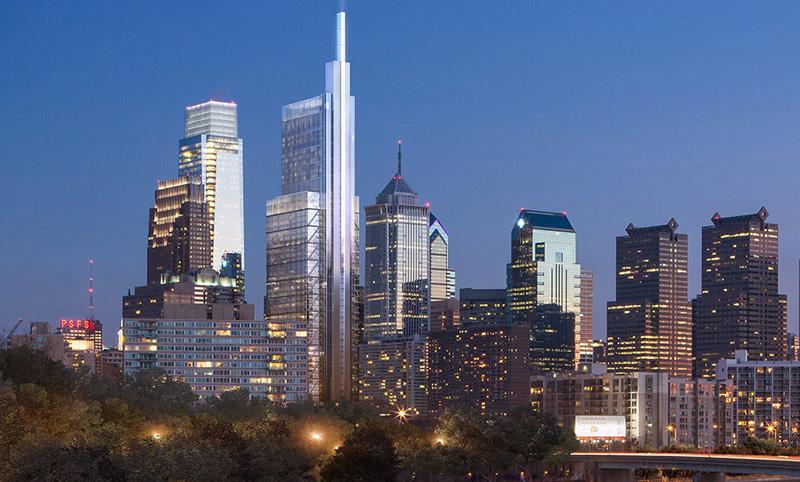 Philadelphia's skyline featuring the Comcast Technology Center.