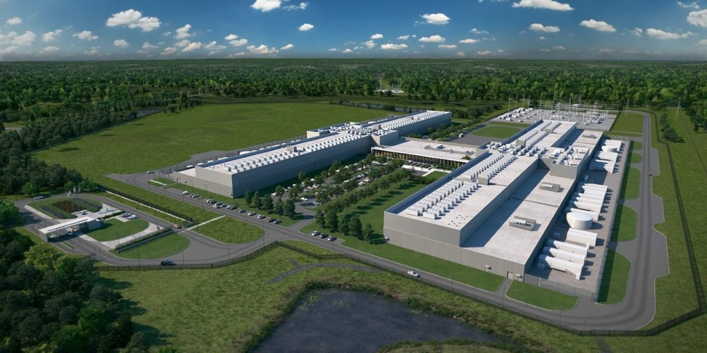 An aerial image of Facebook's newest data center in Virginia.