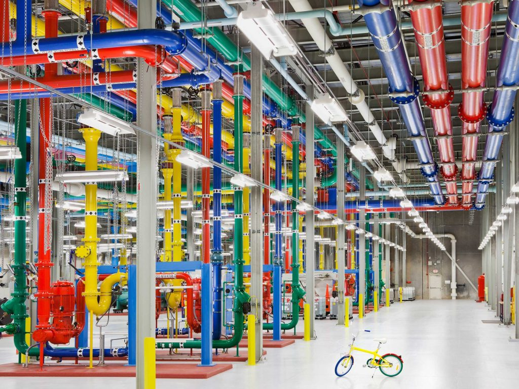 Google's data center that is painted in Google colors.
