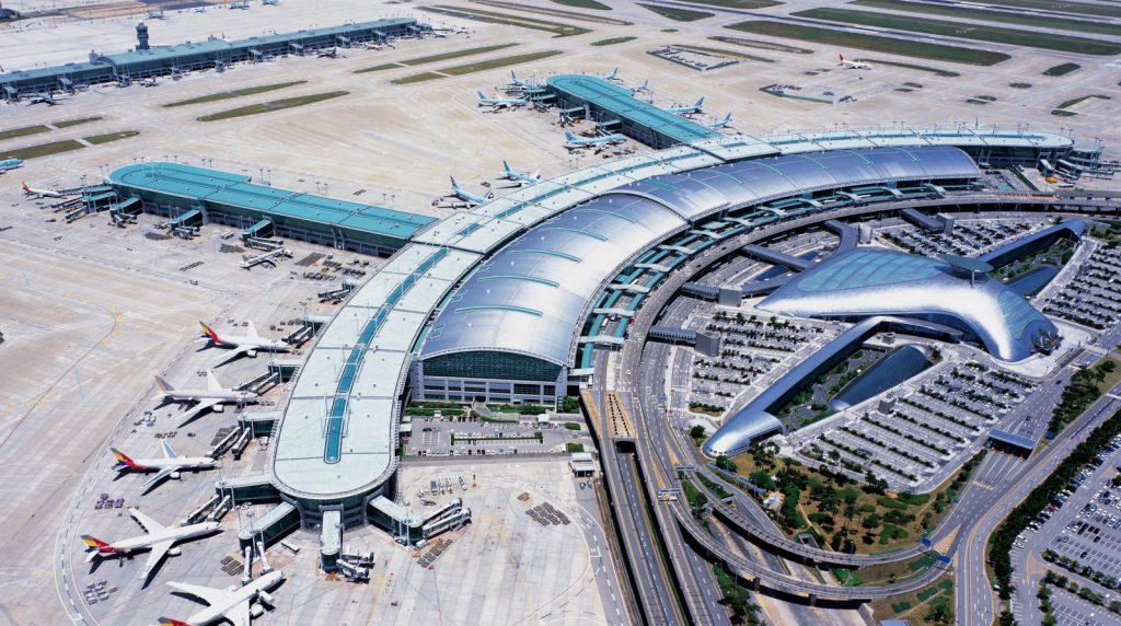 A bird's eye view of Incheon International Airport.