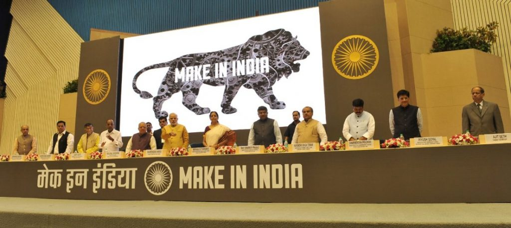 Prime Minister Modi and other Indian officials during a Make in India conference.